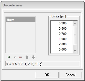 Topas Paswin软件 Discrete Sizes界面