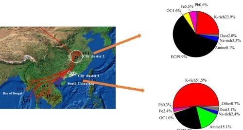 图1. 云滴残余物中不同类型颗粒的占比