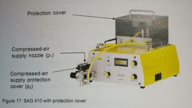 Topas SAG-410粉尘气溶胶发生器保护盖和清洁空气指示图